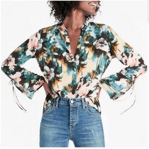 Lucky Brand Floral Bell Tie Sleeve Blouse